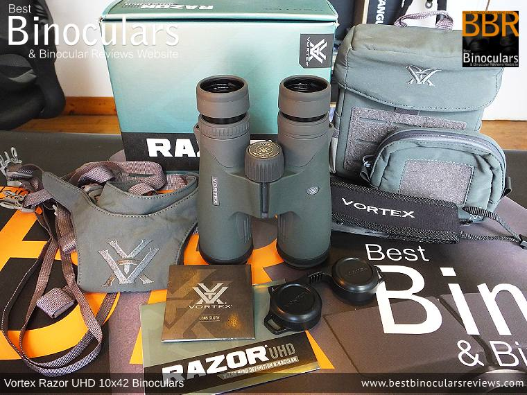 Vortex Razor UHD 10x42 Binoculars with neck strap, bino harness, carry case, accessory pouch, cleaning cloth and lens covers