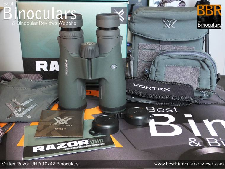 Bino Harness/Case, Neck Strap, Cleaning Cloth, Lens Covers & the Vortex Razor UHD 10x42 Binoculars