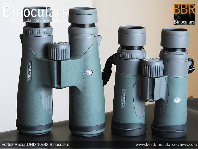 Size comparison between the Vortex Razor UHD 10x42 Binoculars and the 8x42mm Vortex Razor HD