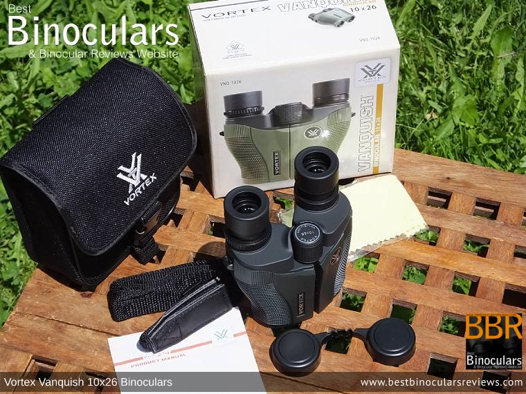 Vortex Vanquish 10x26 Binoculars with neck strap, carry case and lens covers