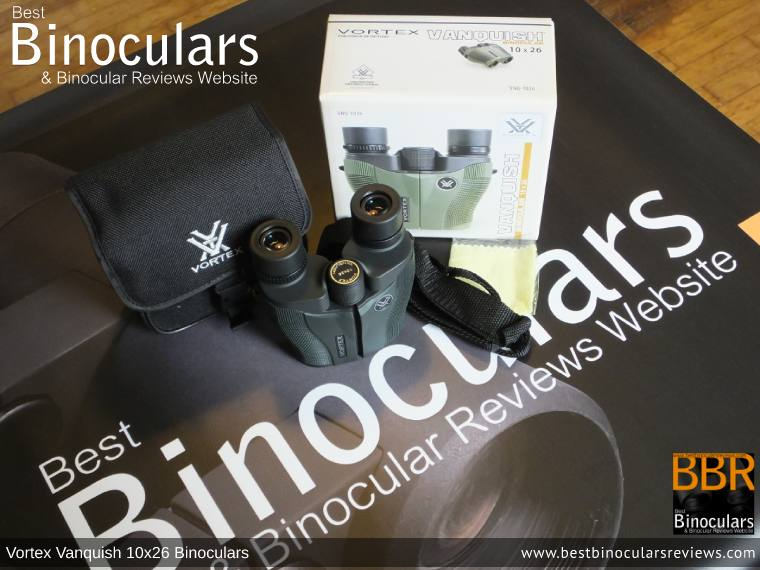 Carry Case, Neck Strap, Cleaning Cloth, Lens Covers & the Vortex Vanquish 10x26 Binoculars