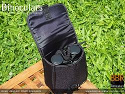 Rear view of the Carry Case & Vortex Vanquish 10x26 Binoculars