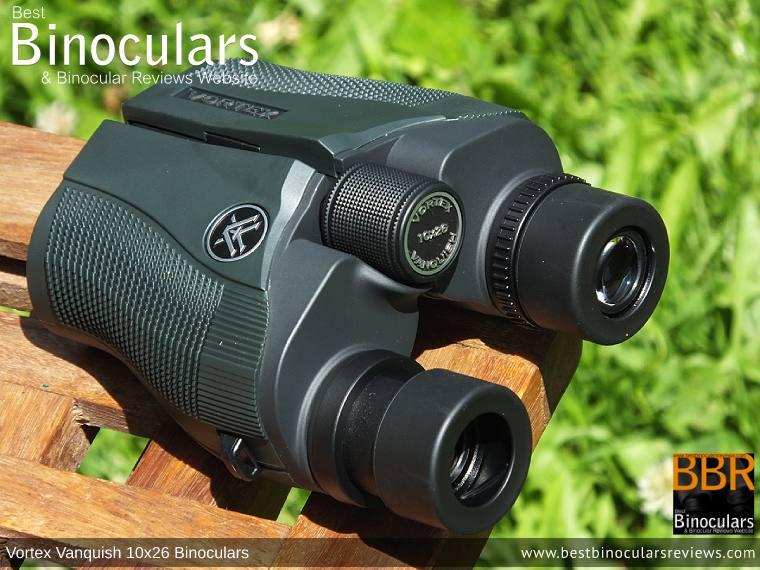 Eyecups on the Vortex Vanquish 10x26 Binoculars