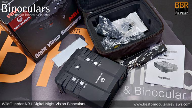 WildGuarder NB1 Digital Night Vision Binoculars with neck strap, carry case and other accessories