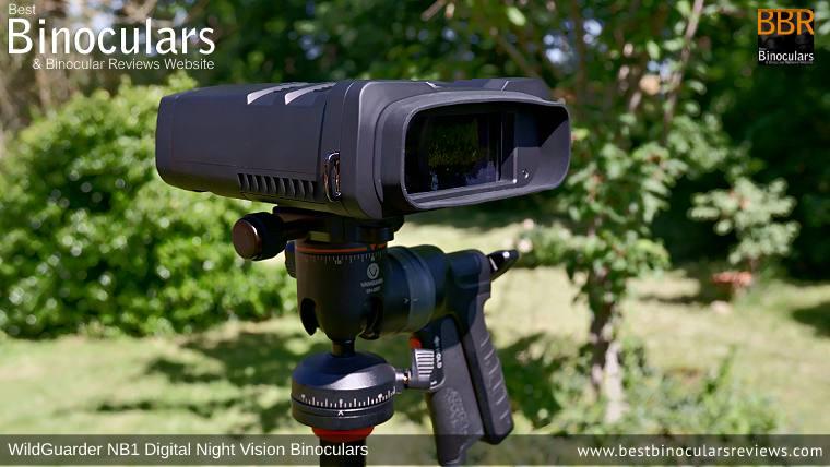 WildGuarder NB1 Digital Night Vision Binoculars on a tripod