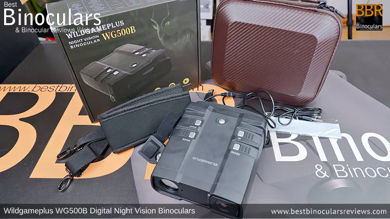 Wildgameplus WG500B Digital Night Vision Binoculars with neck strap, carry case and other accessories