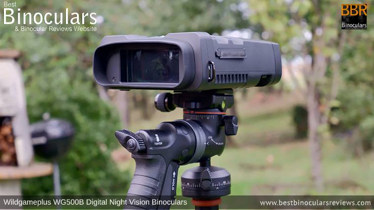 Wildgameplus WG500B Digital Night Vision Binoculars on a tripod