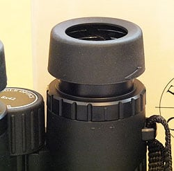 The eyecups and diopter adjustment ring on the Eagle Optics Ranger 8x42 Binoculars