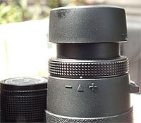 The eyecups and diopter adjustment ring on the Eagle Optics Ranger ED 8x42 Binoculars