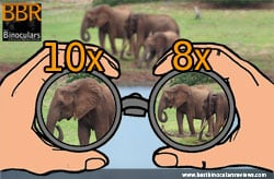 Binoculars Magnification Examples - 8x and 10x