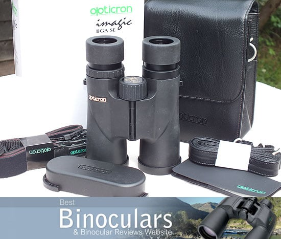 10x42 Opticron Imagic BGA SE Binoculars with carry case, neck strap, cleaning cloth and lens covers