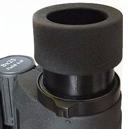 The eyecups and diopter adjustment ring on the Opticron Taiga 8x25 Binoculars
