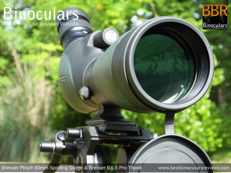 Large 80mm Objective Lens on the Bresser Pirsch 20-60x80 Spotting Scope