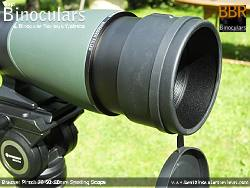 Extendable Sunshield on the Bresser Pirsch 20-60x80 Spotting Scope