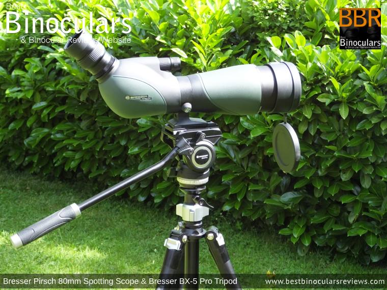 Bresser Pirsch 20-60x80 Spotting Scope mounted on the Bresser BX-5 Pro tripod