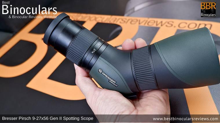 Extremely portable Bresser Pirsch 9-27x56 Gen II Spotting Scope