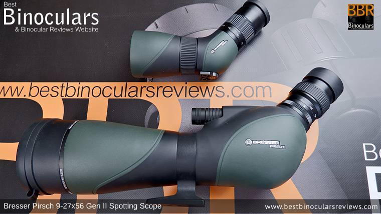 56mm vs 80mm Bresser Pirsch Gen II Spotting Scopes size comparison