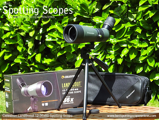 The Celestron LandScout 12-36x60 Spotting Scope and it's box
