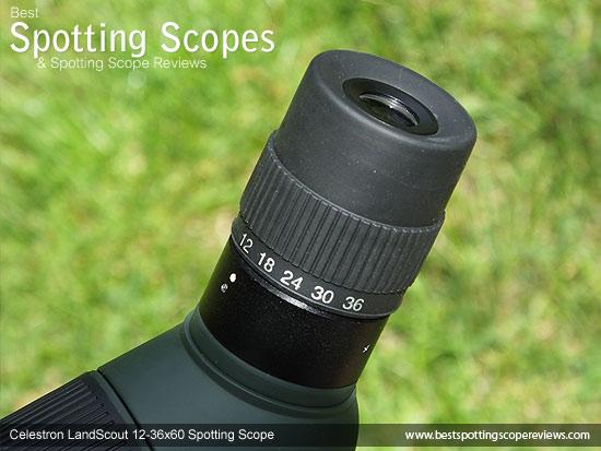 Eyepiece on the Celestron LandScout 12-36x60 Spotting Scope