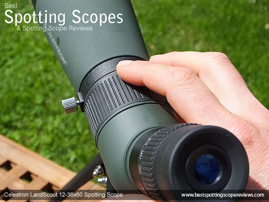 Focus Wheel, aiming sight and eyepiece on the Celestron LandScout 12-36x60 Spotting Scope
