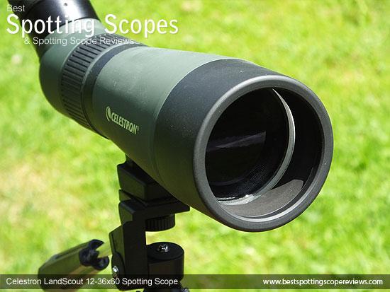 90mm objective lens on the Celestron LandScout 12-36x60 Spotting Scope