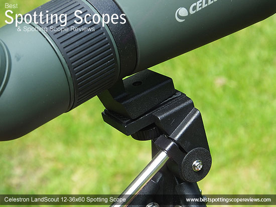 Mounting Plate & Collar on the Celestron LandScout 12-36x60 Spotting Scope