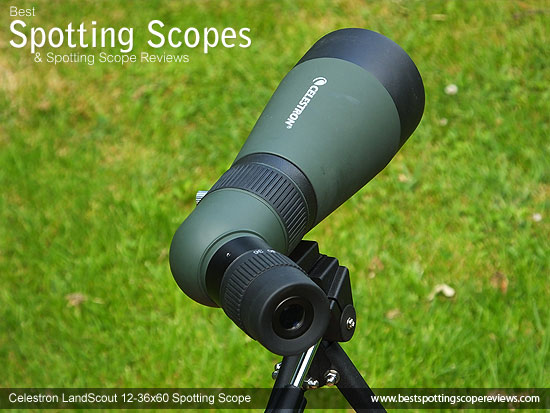The Celestron LandScout 12-36x60 Spotting Scope mounted on a tripod using a pistol grip
