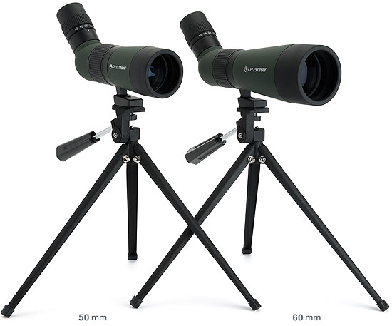 Size Comparisons between 50mm vs 60mm Celestron LandScout Spotting Scopes