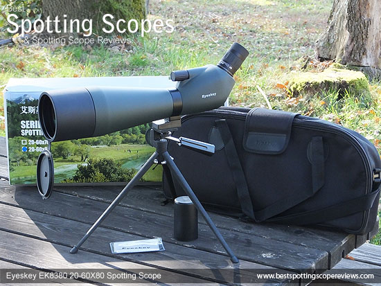 The Eyeskey EK8380 20-60x80 Spotting Scope, Accesories and it's box