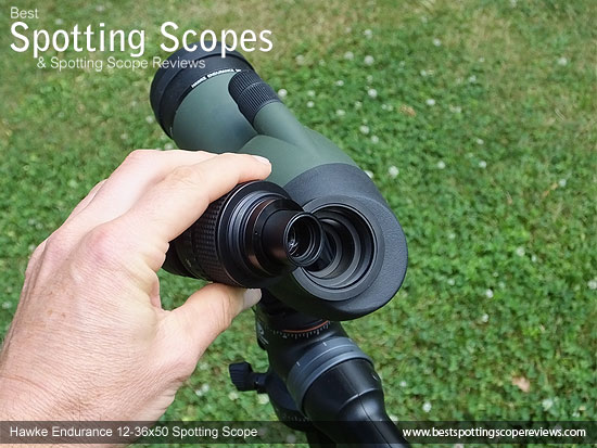 Eyepiece on the Hawke Endurance 12-36x50 Spotting Scope