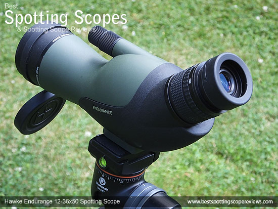 Side view of the Hawke Endurance 12-36x50 Spotting Scope mounted on a tripod using a pistol grip