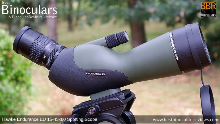 Hawke Endurance ED 15-45x60 Spotting Scope mounted on the Bresser BX-5 Pro tripod