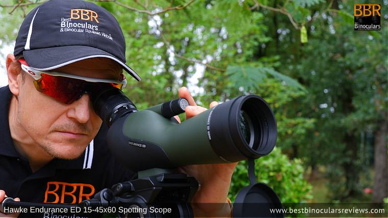 Wearing glasses using the Hawke Endurance ED 15-45x60 Spotting Scope