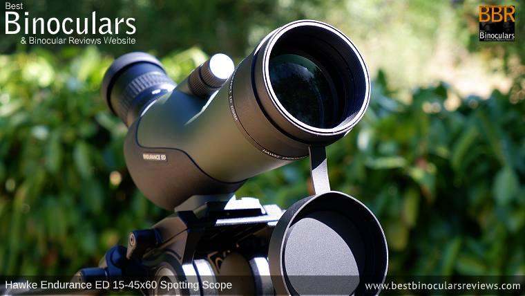 Large 80mm Objective Lens on the Hawke Endurance ED 15-45x60 Spotting Scope