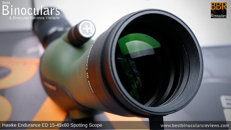 60mm Objective Lense on the Hawke Endurance ED 15-45x60 Spotting Scope