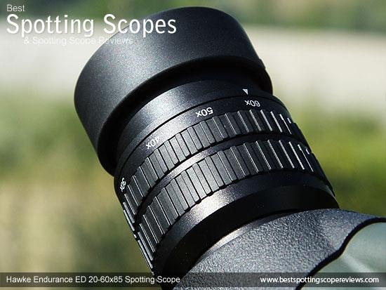 Eyepiece on the Hawke Endurance ED 20-60x85 Spotting Scope