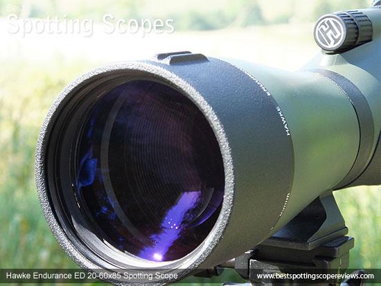 85mm objective lens on the Hawke Endurance ED 20-60x85 Spotting Scope