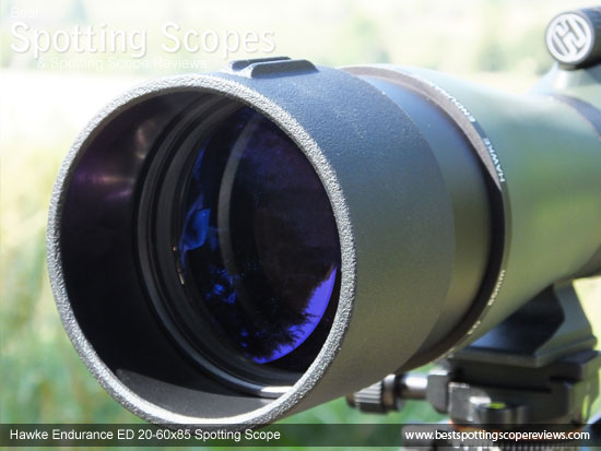 The Sunshield on the Hawke Endurance ED 20-60x85 Spotting Scope