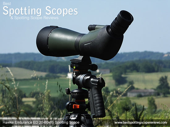 The Hawke Endurance ED 20-60x85 Spotting Scope mounted on a tripod using a pistol grip