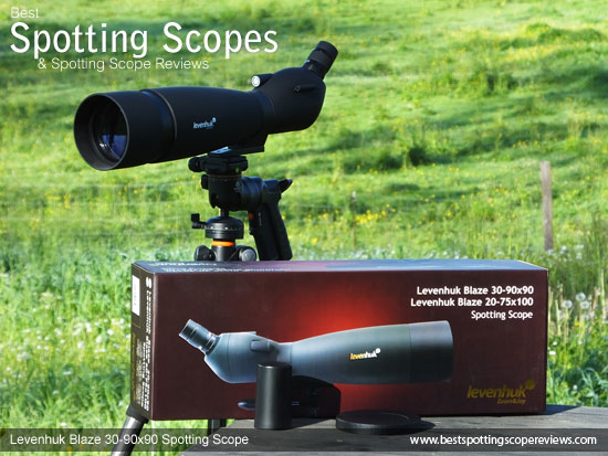 The Levenhuk 30-90x90 Spotting Scope and it's box