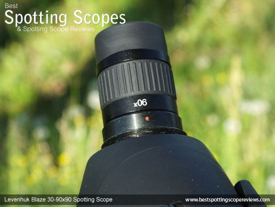 Eyepiece on the Levenhuk 30-90x90 Spotting Scope