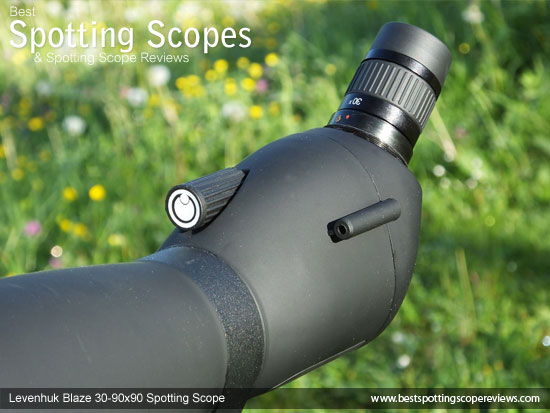 Focus Wheel, aiming sight and eyepiece on the Levenhuk 30-90x90 Spotting Scope