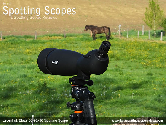 The Levenhuk 30-90x90 Spotting Scope mounted on a tripod using a pistol grip
