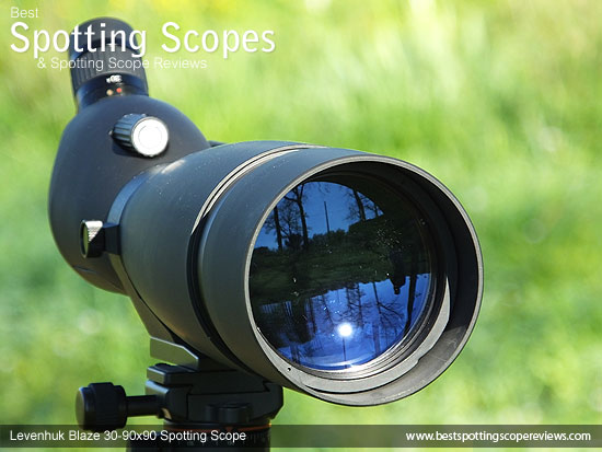 90mm objective lens on the Levenhuk 30-90x90 Spotting Scope