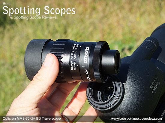 Eyepiece on the Opticron MM3 60 GA ED Travelscope
