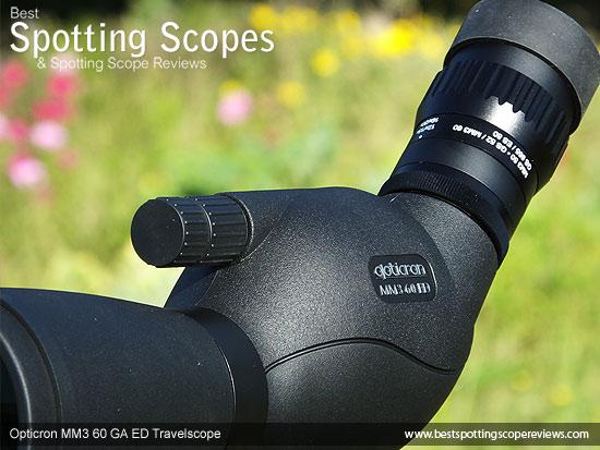 Twin focus wheels on the Opticron MM3 60 GA ED Travelscope
