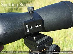 Mounting Plate on the Opticron MM3 60 GA ED Travelscope