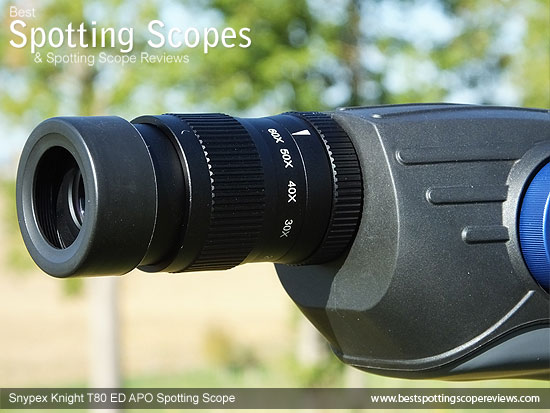 20-60x zoom Eyepiece on the Snypex Knight T80mm ED APO Spotting Scope