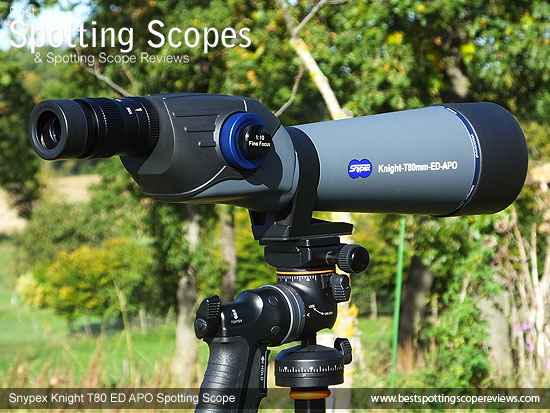 The Snypex Knight T80mm ED APO Spotting Scope mounted on a tripod using a pistol grip
