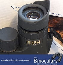 The eyecups and diopter adjustment ring on the Steiner 10x42 SkyHawk Pro Binoculars